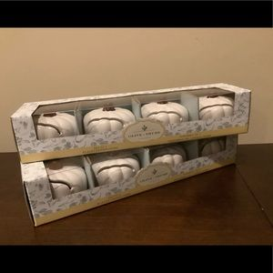 8 White Ceramic Pumpkin Place Card Holders